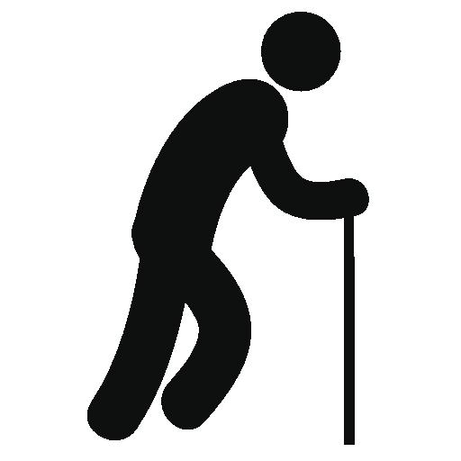 icône personne âgée marchant avec une canne
