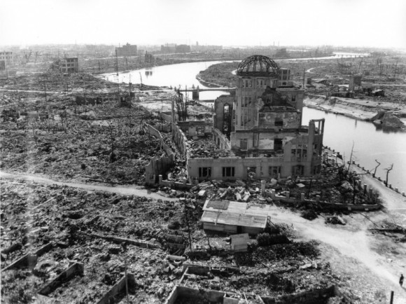 "TO GO WITH AFP STORY ""JAPAN-US-NUCLEAR-HISTORY-WWII-HIROSHIMA-ANNIVERSARY"" BY HIROSHI HIYAMA This handout picture taken on November, 1945 by US Army and released from Hiroshima Peace Memorial Museum shows the A-bomb Domea, three months after the atomic bomb was dropped by B-29 bomber Enola Gay over the city of Hiroshima. Charred bodies bobbed in the brackish waters that flowed through Hiroshima 70 years ago this week, after a once-vibrant Japanese city was consumed by the searing heat of the world's first nuclear attack. About 140,000 people are estimated to have been killed in the attack, including those who survived the bombing itself but died soon afterward due to severe radiation exposure.  AFP PHOTO / HIROSHIMA PEACE MEMORIAL PARK---EDITORS NOTE---HANDOUT RESTRICTED TO EDITORIAL USE - MANDATORY CREDIT ""AFP PHOTO / HIROSHIMA PEACE MEMORIAL MUSEUM"" - NO MARKETING NO ADVERTISING CAMPAIGNS - DISTRIBUTED AS A SERVICE TO CLIENTS"